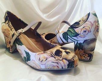 Wedding Shoes - Low heel  - Skull Heels