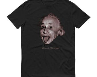 Albert Einstein with tongue out science physics Short-Sleeve T-Shirt