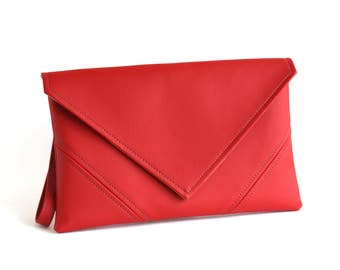 Red Clutch Bag Gift For Her Bridesmaid Clutch Vegan Leather Clutch Purse Evening Bag Vegan Purse Envelope leather Clutch Evening Clutch