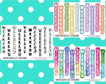 233 | ECLP Horizontal Weekend Banners, Choose Your Style {10 Fancy Matte or Glossy Planner Stickers, ECLP Horizontal}