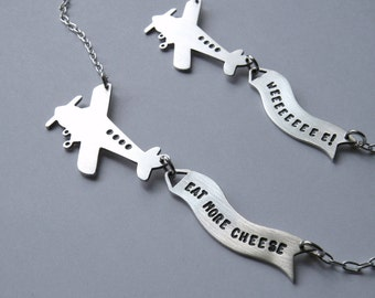 Airplane and banner necklace personalized engraved nickel free one of a kind gift funny necklace personalized banner personalized quote
