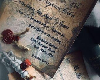Medieval aged Rustic woodland wedding invitation