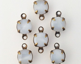White Moonglow Glass Stone 2 Loop Brass Ox Setting Drops 7mm (6) rnd007DD2