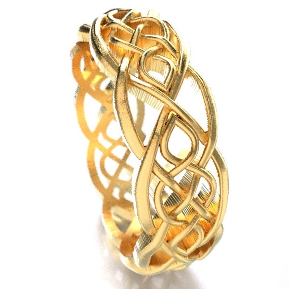 Gold Celtic Wedding Ring With Cut-Through Infinity Symbol Pattern in 10K 14K 18K Gold, Palladium or Platinum, Made in Your Size Cr-1051