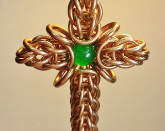Tutorial for Rays Of Sunshine Cross Pendant chain maille cross