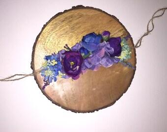 Floral Crown | Artificial Flower Crown | Blue and Purple Floral