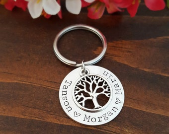 Family Tree Keychain For Grandpa | Grandfather Gift | Personalized Dad Key Chain | Dad Key Chain | Gifts For Dad | Fathers Day Gifts For Him