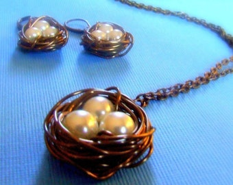 Antiqued Brass Birds Nest necklace and Earrings Set -Birds Nest Set- mother's gift, womens jewelry, wire wrapped pearls
