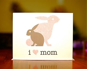 I Heart Mom - Mama and Baby Bunnies New Baby or Mother's Day Card (100% Recycled Paper)