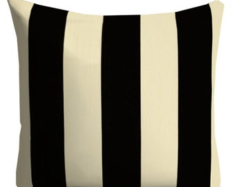 outdoor pillow, black ivory pillow, striped outdoor pillow, pool pillow, outdoor throw pillow, patio pillow,18 in pillow cover, black pillow