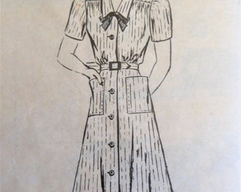 1940s Shirtwaist Dress Pattern, Mail Order 3192, Collar with Tie Yoke Dress, Long or Short Sleeves, Flared Skirt, Size Bust 42 in Hips 45 in