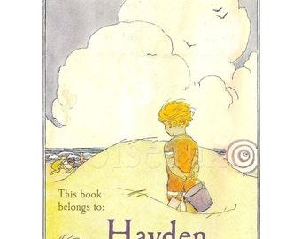 Personalized Bookplates - Beach Child - Vintage Book Plates, Seaside, Surf, Ex Libris