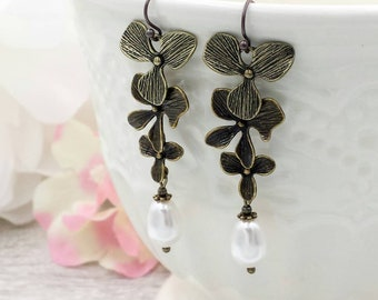 Orchid Pearl Earrings, Orchid Flower Teardrop White Cream Pearl Earrings, Brass Orchid Earrings, Wedding Bridal Bridesmaid Gift for Her