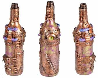 """11"""" Steampunk 3rd Eye Oil Lamp Bottle - Green/Purple"""