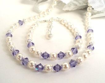 Kleine Mädchen lila Halskette Armband, Kleinkind-Schmuck, Urlaub, Schmuck, Blumenmädchen Schmuck, Tansanit lila, lila Schmuck Set, elegant