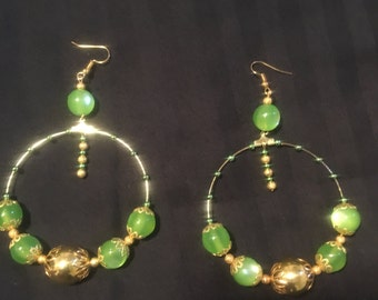 Beautiful gold and green hoops