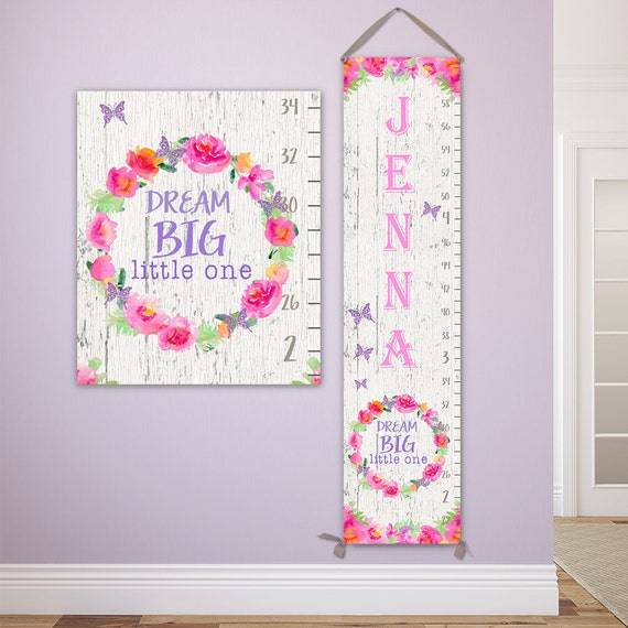 Dream Big Little One - Personalized Canvas Growth Chart - Wooden Ruler, Wood Growth Chart, Height Stick, Wooden Growth Chart - GC1003W