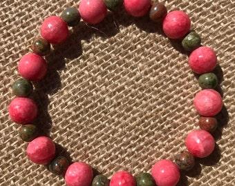Pink Quartzite and Green Unakite Bracelet