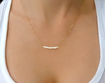 Pearl Strand Necklace, Single Strand Pearl Necklace, Dainty Pearl Bar Necklace, Simple Pearl Necklace, Freshwater Pearl Bridesmaid Jewelry