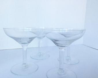 SALE / Set of Four Vintage Champagne Glasses / Coupe / Barware / Stemware