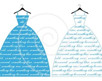 Something blue, wedding dress, bride, bridal shower, invitation, card, print, digital clipart, fashion illustration, vector, download