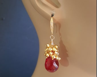 Red Topaz Drop Earrings with Gold Pyrite Cluster Earrings Gift for Her