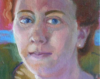Small Original Art Red-Haired Woman Oil Canvas 5x7x1.5