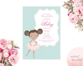 ballerina instant download invitation, printable ballerina invitation, ballerina birthday, ballerina invite, ballerina party