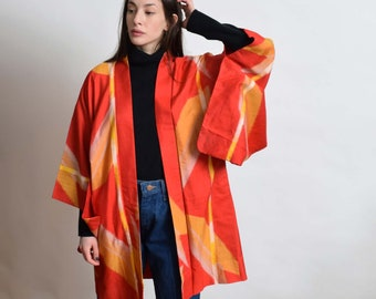 1950s Abstract Shapes Silk Haori Kimono 50s Vintage Red Short Robe XS S M L