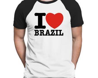 I Love Brazil Raglan T-Shirt