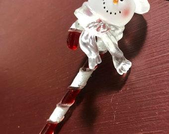APRILSALE Vintage, Snowman on a Candy Cane, Christmas, Ornament