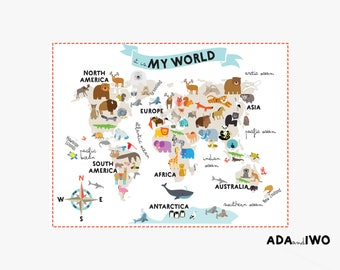 Animal world map etsy completely ecological animal world map made from wallpaper and printed with water base paints large gumiabroncs Choice Image