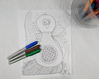 Crazy Chick Coloring Page Digital Download Zentangle ZIA