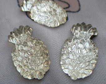 Vintage Crystal Pineapple Glass Textured Cabochon 20x14mm West German 1950s 3 Pcs