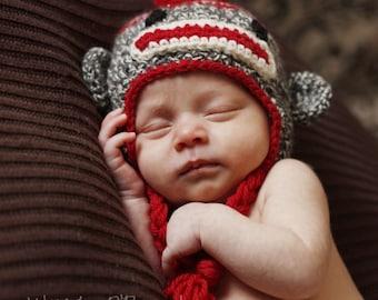 Sock Monkey Hat, Monkey Hat, Work Sock Hat, Crochet Monkey Hat