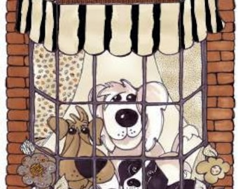 "Doggies In The Window cotton panel -- approximately 23"" x 44"""