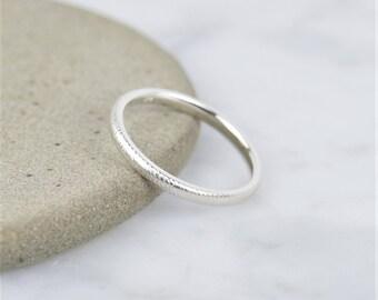 Hammered 2mm Stacking Band Ring - 925 Sterling Silver, Subtle, Minimal