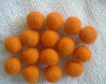 """Hand Wet Felted Round Wool Beads 3/8"""" - 1/2"""" Orange"""