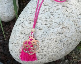 Serenity Pink wood beads necklace