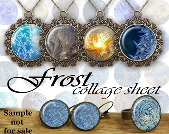 """Frost Digital Collage Sheet Glass Dome necklace Bottle Caps Ice Cabochons Magnets Digital Images for Jewelry Images 1.5"""" 1"""" 25mm"""