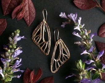 Bronze Butterfly Wing Earrings - Handmade in Austin, Tx - Insect Earrings -  made by Jamie Spinello
