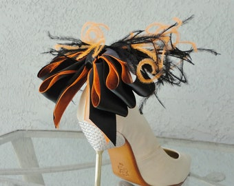 Wedding, Bridal, Sexy Black And Orange Satin Ribbon Bow And Ostrich Feather Shoe Clips