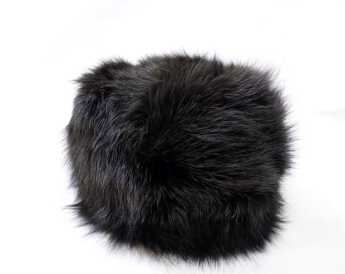 Real fur hat, Fox hat, Black Grey Hat F527