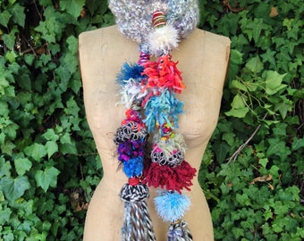 Long Crochet Scarf With Multicolor Tassles