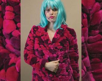 90's Vintage Faux Fur Two Tone Pink Statement Coat Club Kid Raver Neon Vapor Wave 90's Does 70's Rare Vintage Jacket