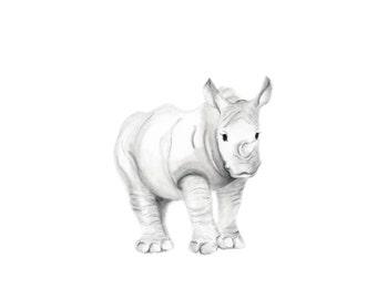 Safari Nursery Art, Rhino, Jungle, Grey and White Nursery, Rhinoceros, Baby Boy Nursery Art, Baby Animal, Pencil Drawing, Sketch, Art Print