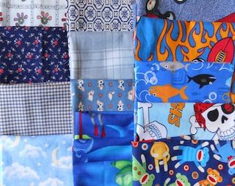 Fabric Bundle Shades of Blue Various Sized Scrap Fabrics Destash