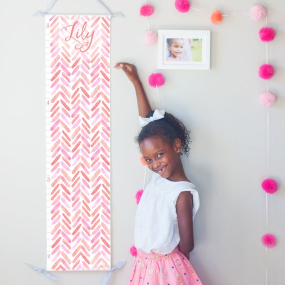 Coral and Pink Watercolor Chevron Growth Chart