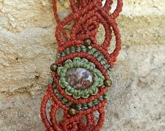 """Terracotta macrame bracelet, with gemstone cabochon Jasper Leopard  """"le Petit Plaisir"""""""