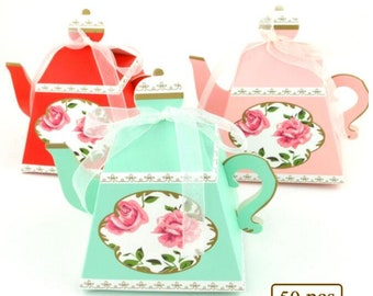 50pcs Tea Time Favor Boxes Teapot Treat Boxes Wedding Bridal Shower Birthday Tea Party Gift Boxes Lady's Nightout Party